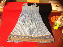 Faded Glory Cute Short Blue Yellow Gold Dress Paisley Floral Pattern size 8