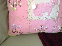 Easter Spring Bunny Rabbit Pink Pillow with Ornaments Great for Spring Fever image 5