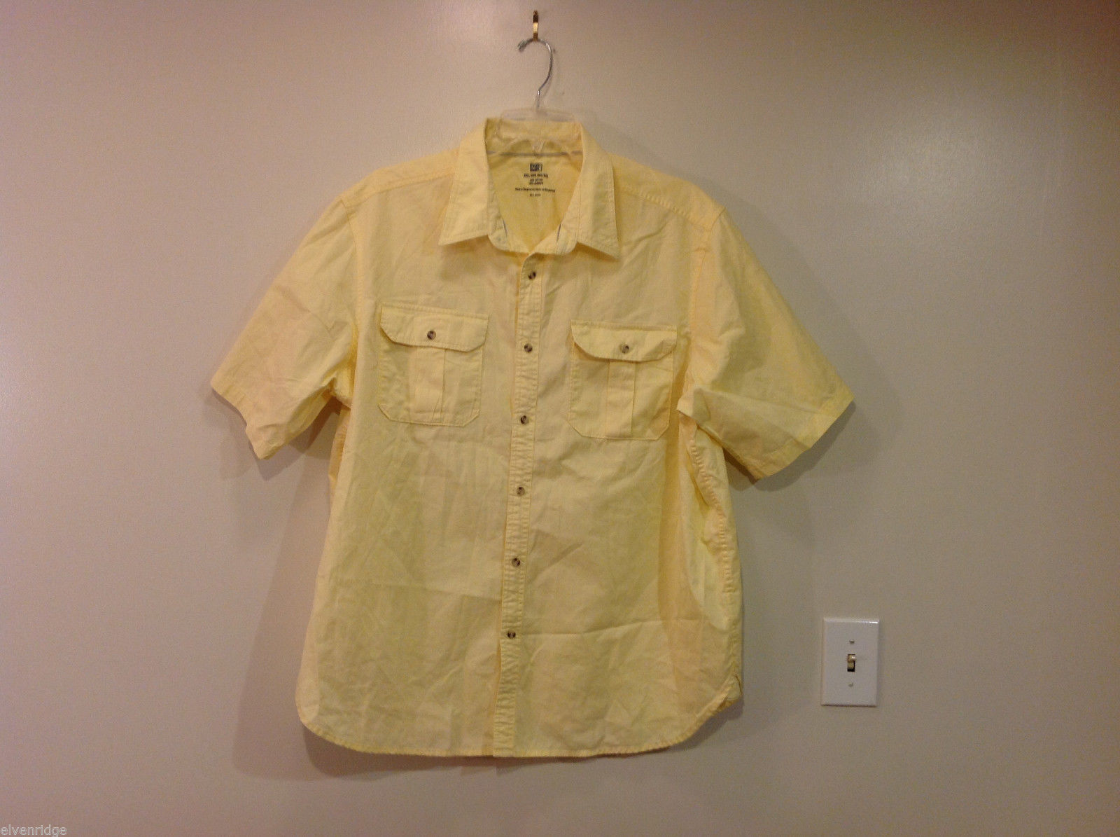 Faded Glory Short Sleeve Yellow 100% Cotton Shirt, Size 2XL (50/52)