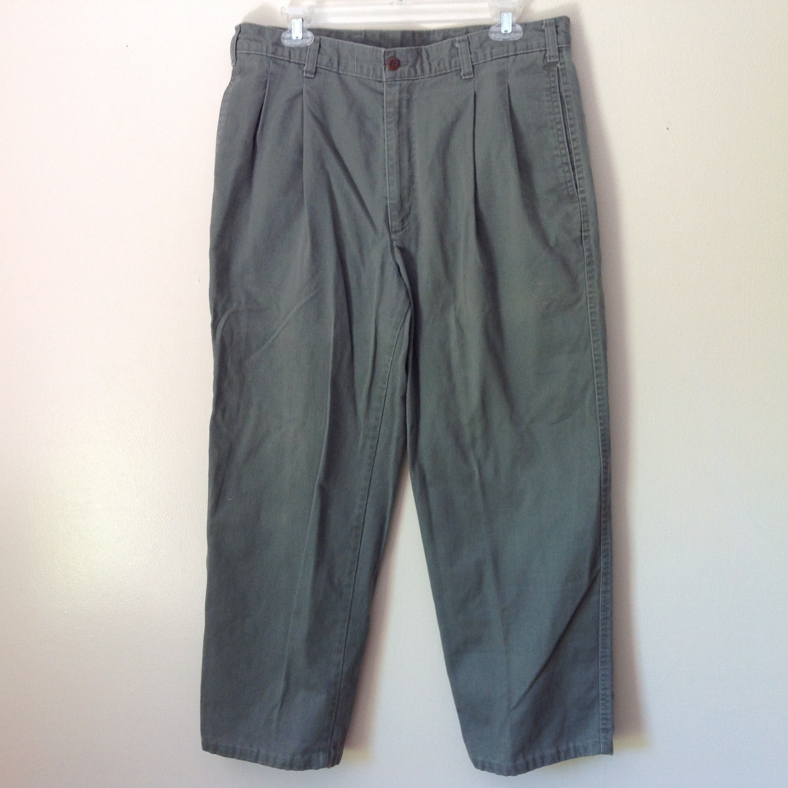Faded Green Casual Pants by DOCKERS Classic Fit 100 Percent Cotton Size W34 L29