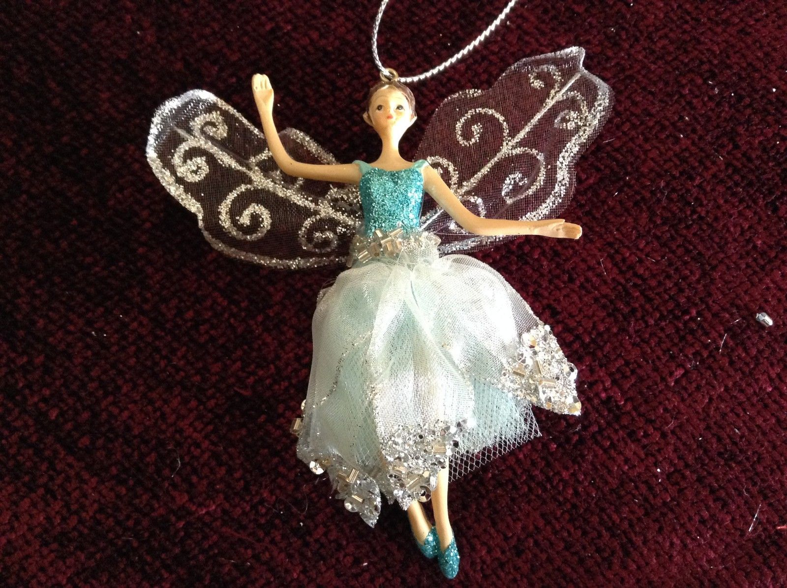 Fairy Ornament with Blue Glittered Shirt Clear White Dress Silver Beads