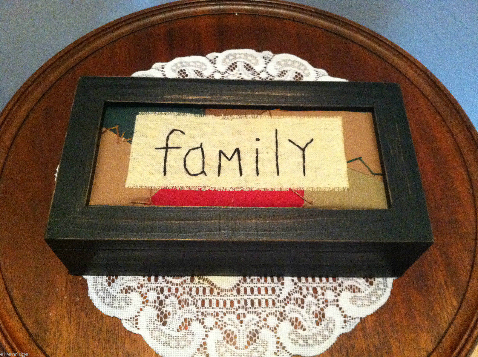 """Family"" Hand Stitched Cover of Black Wooden Box"