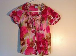 Fancy Short Sleeve Floral Button Down Shirt by Caribbean Joe Size Petite Medium