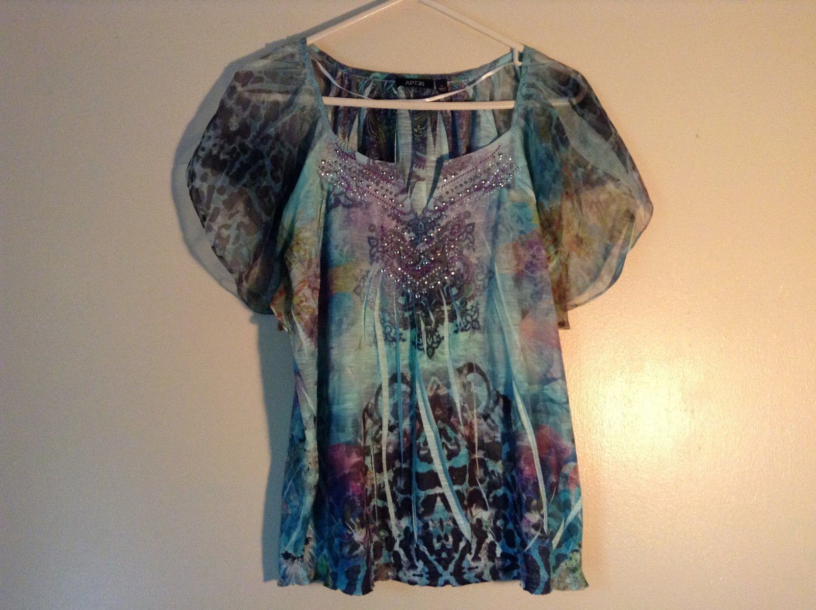 Fancy V Neck Teal Blue with Purple Green Jewels Top by Apt 9 Size Large