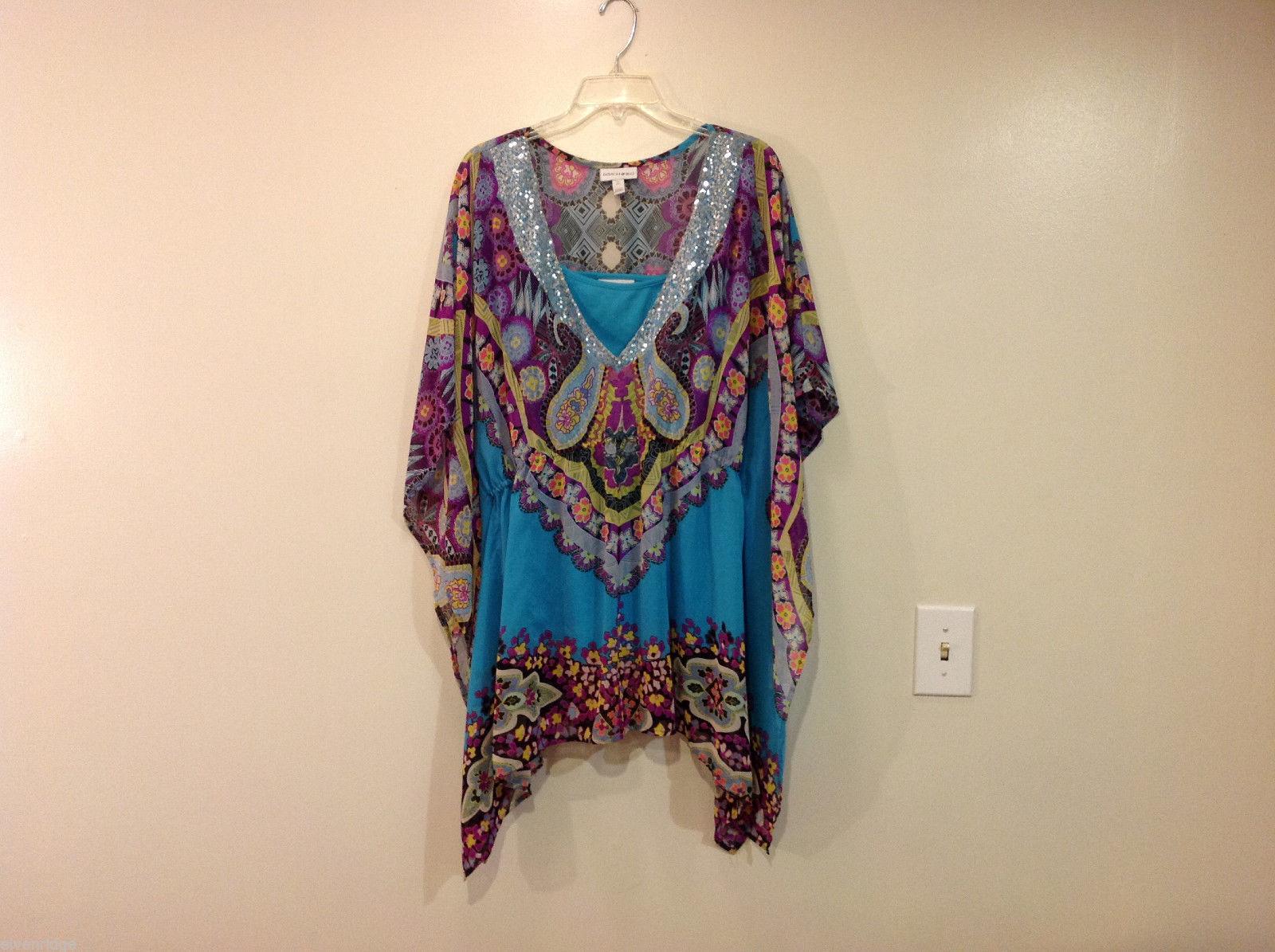 Fashion Bug Summer Kimono Style Multicolor Blouse w/ Turquoise Tank Top, Size XL