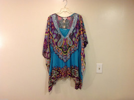 Fashion Bug Summer Kimono Style Multicolor Blouse w/ Turquoise Tank Top, Size XL