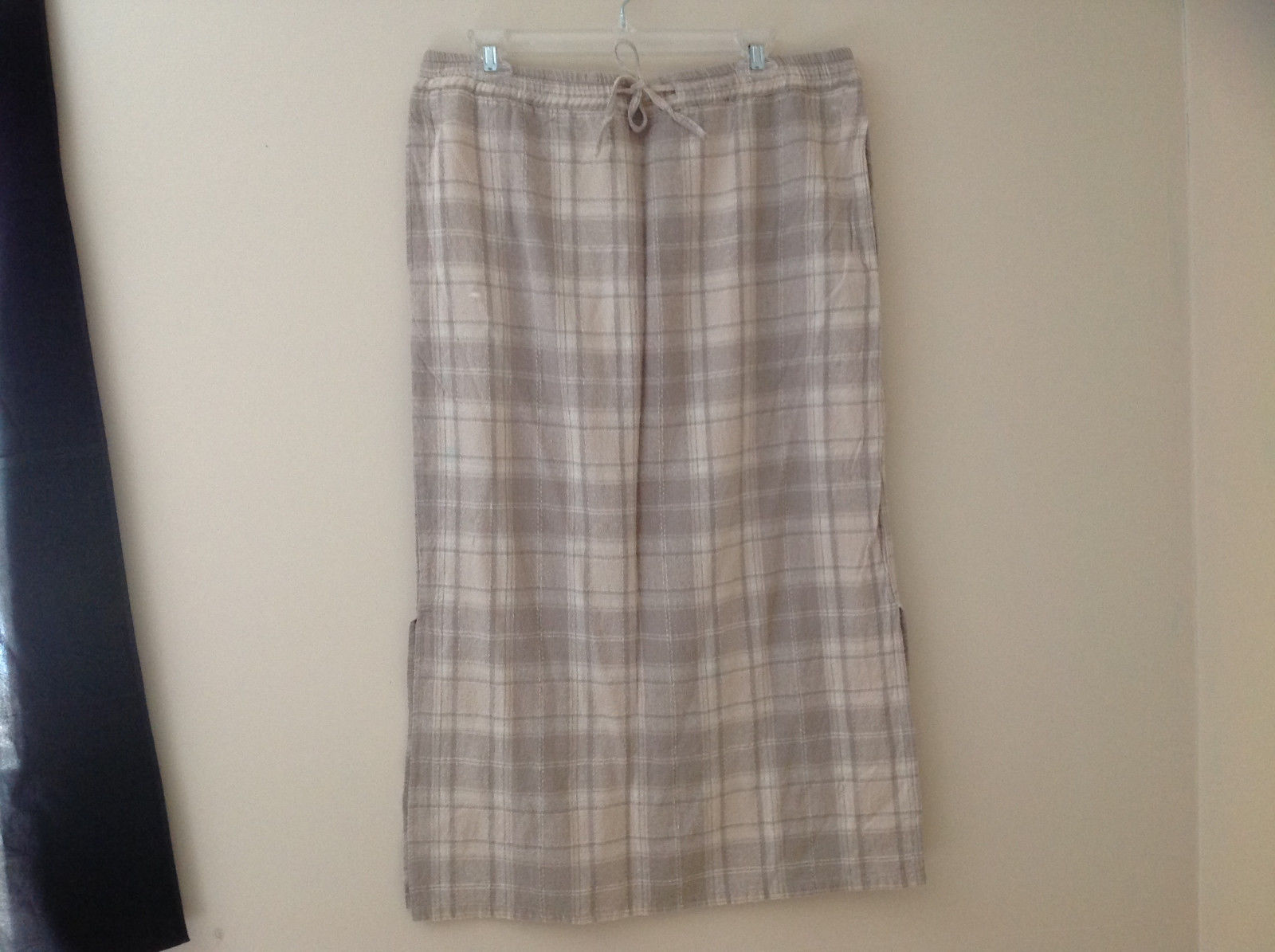 Fashion Bug Tan Khaki Plaid Tie Waistband Calf Length Skirt Pockets Size XL