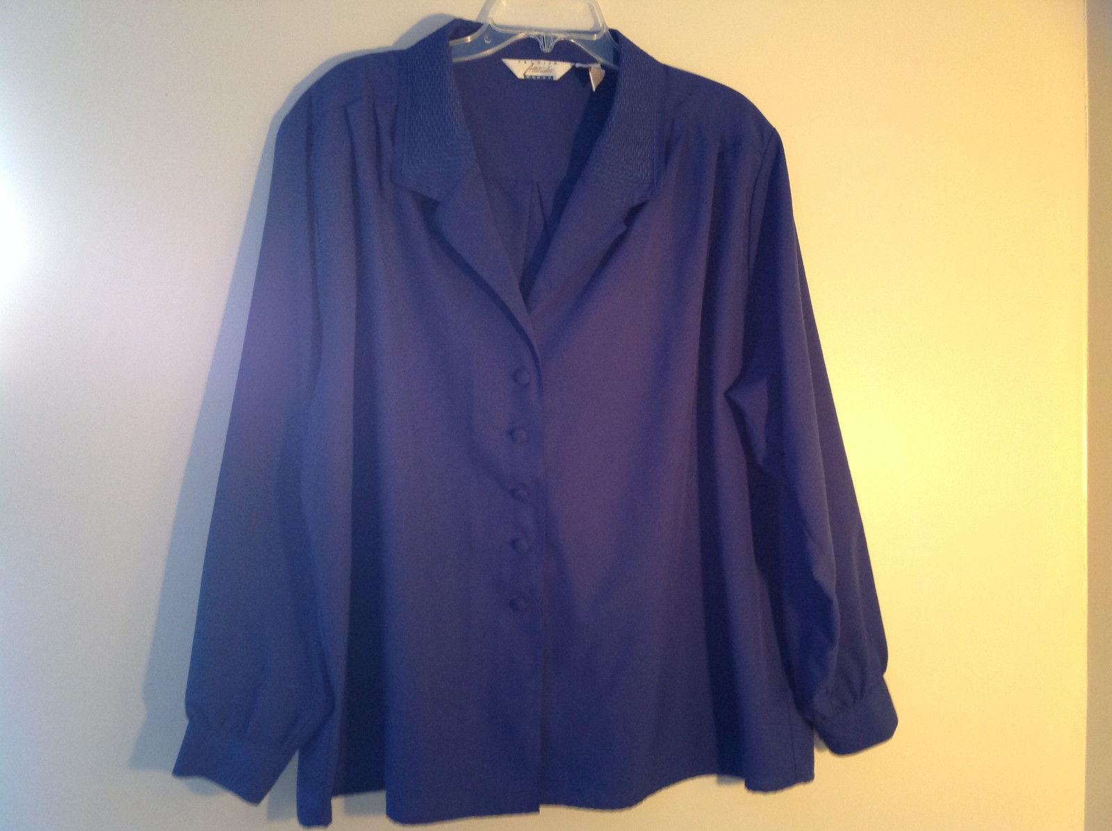 Fashion Attitudes Royal Blue V-Neckline Button Up Long Sleeve Blouse Size 24W