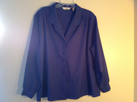 Fashion Attitudes Royal Blue V-Neckline Button Up Long Sleeve Blouse Size 24W