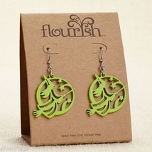 Fashion earrings filigree Green Flying Witches  Flourish
