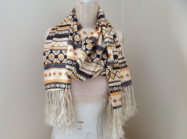 Geometric Patterned Tan Yellow Black Scarf with Tassels Silk Like Material