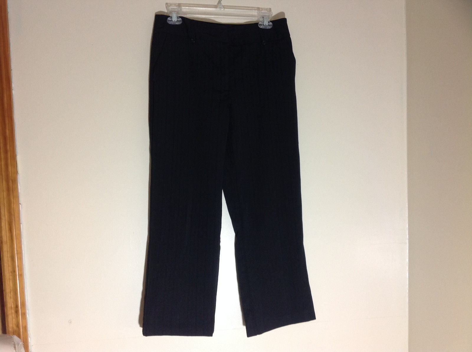 George Stretch Boys Black Pinstriped Dress Pants Front Pockets Size 10 Average