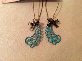 Geranium handmade limited edition turquoise color leaves dangling earrings image 1