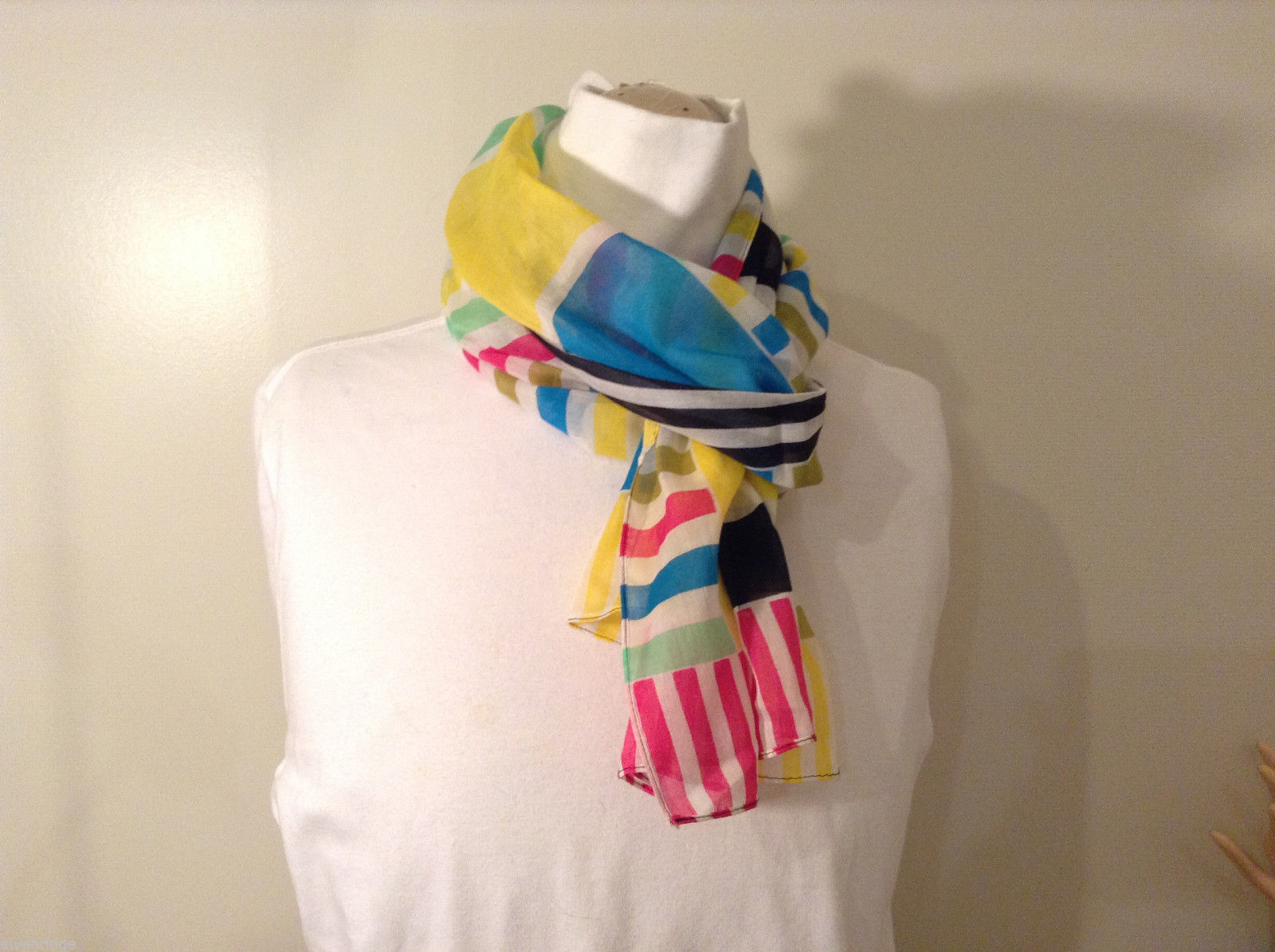 Geometric Stripes and Squares Bright Multi-Color Scarf Lightweight fabric