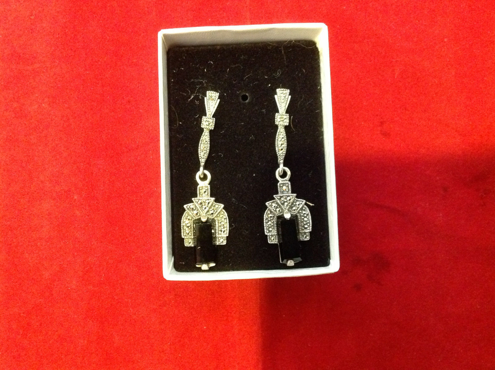 Geometric Art Deco Silver Post Back Dangle Earrings with Black Rectangular Stone