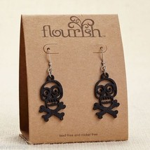 Fashion earrings filigree black skull and cross bones  Flourish