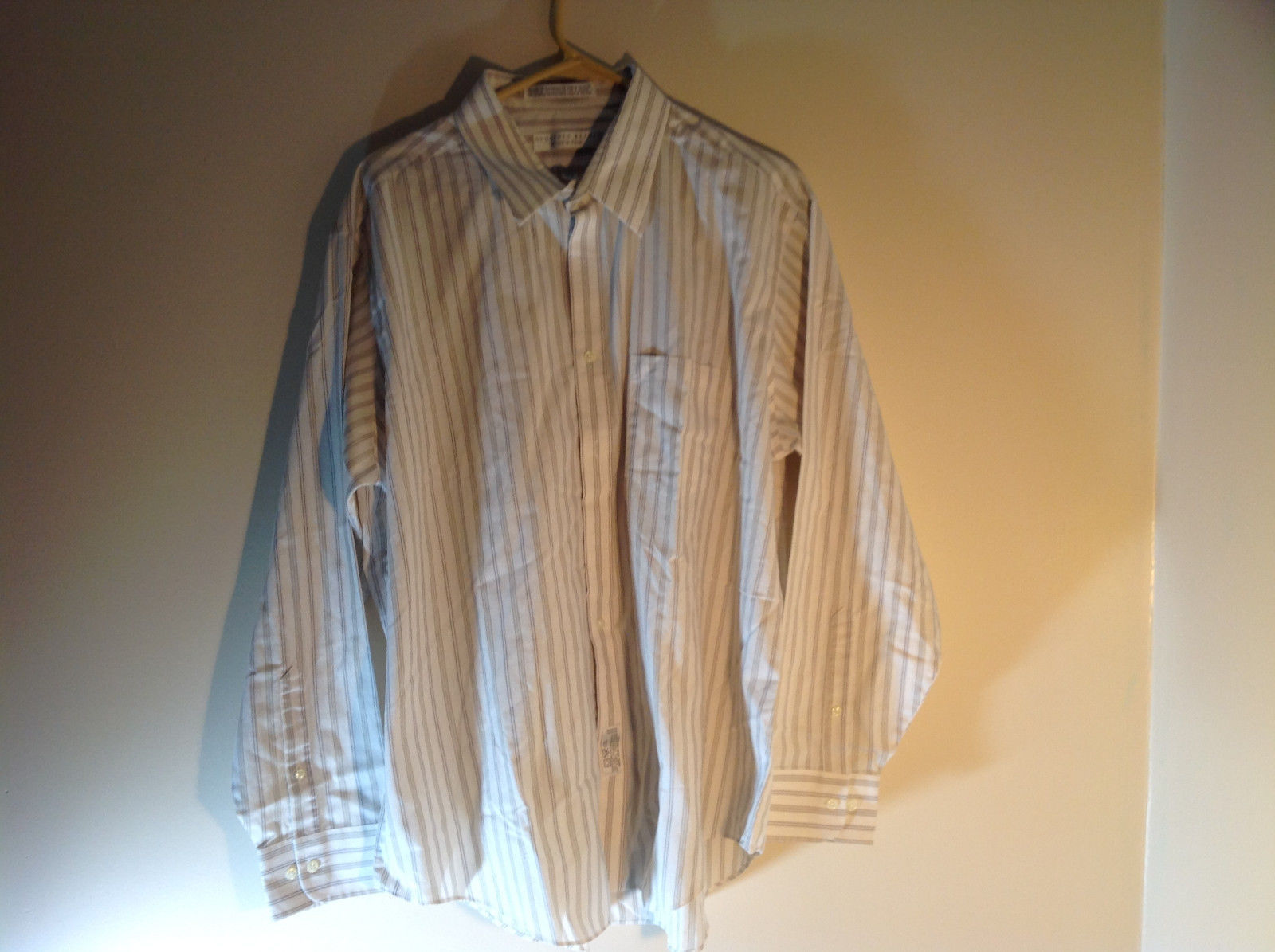 Geoffrey Beene White Long Sleeved Button Up Wrinkle Free Dress Shirt Size 17.5