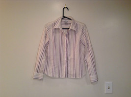 George Long Sleeve Button Up Shirt White with Violet Black Green Stripes Size M