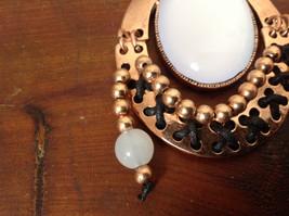 Elegant Bronze Tone Vintage Style Scarf Pendant with Large White Stone and Beads image 3