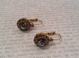 Elegant Gold  Smoky High Quality Crystal Earrings Lever Back Prudence C image 6