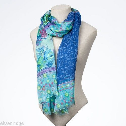 Fashion scarf  blue green floral paisley