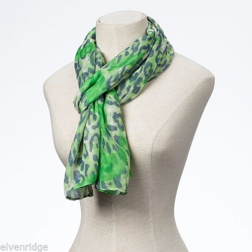 Fashion scarf  green leopard print