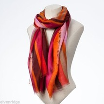 Fashion scarf  orange pink multicolored scarf image 1