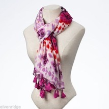 Fashion scarf  orange pink purple  with tassels