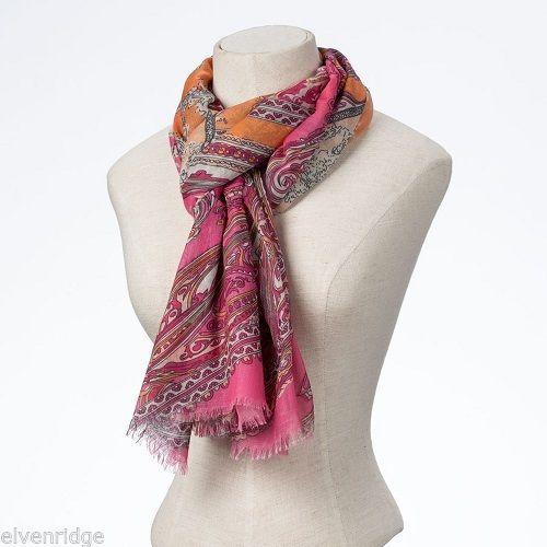 Fashion scarf  orange pink paisey