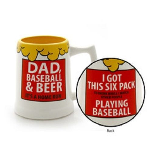Father's Day Beer Stein Dad Baseball Beer Home Run Got Six Pack Playing Baseball