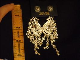 Elegant large dangly Rhinestone Earrings Peacock waterfall design Nickel free image 4