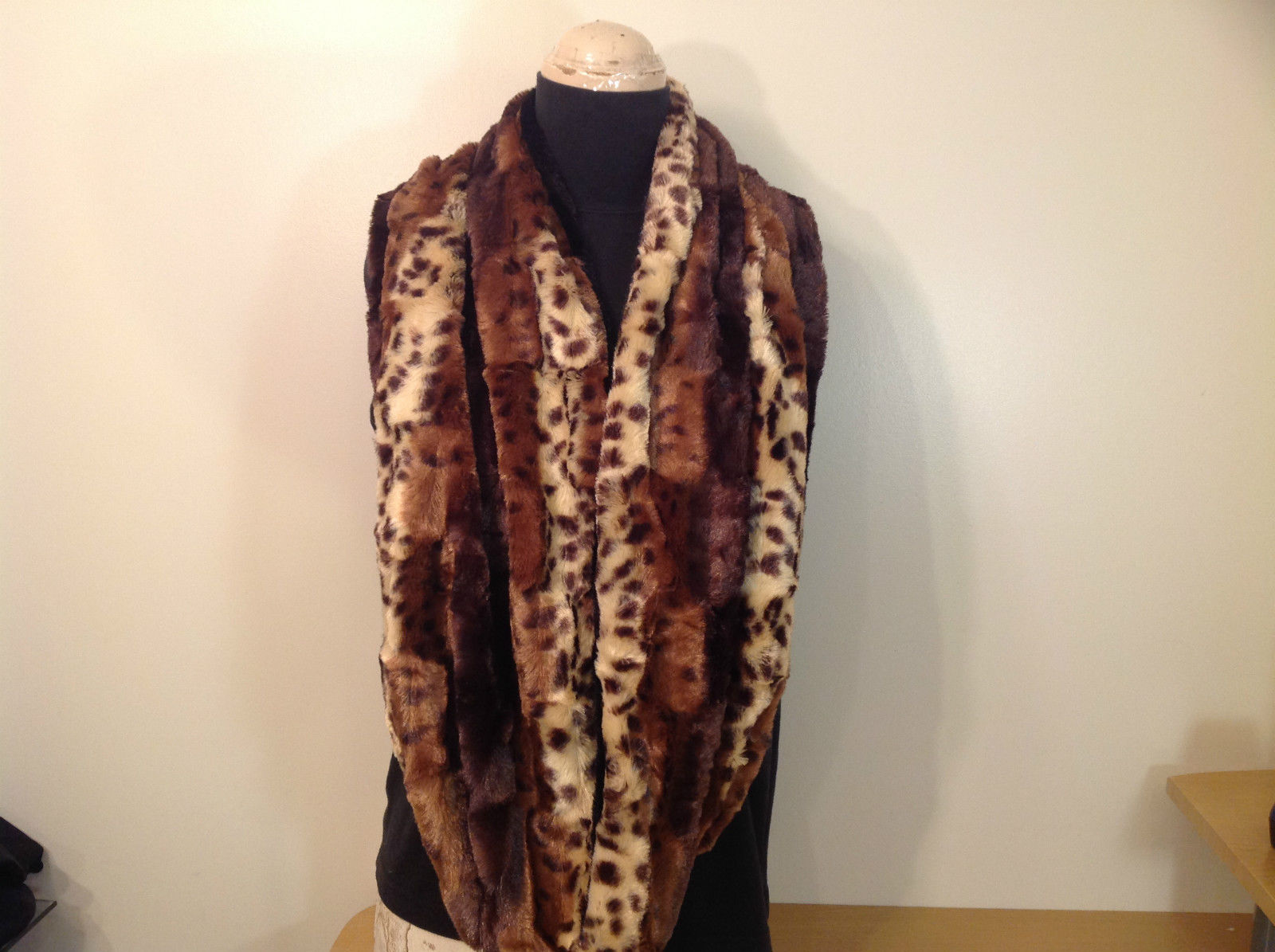 Faux Fur Infinity Scarf Reversible Leopard Print Black 100 Percent Polyester