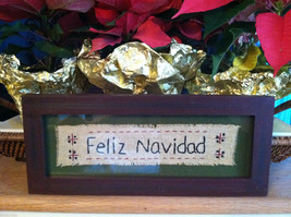"""Feliz Navidad"" Hand Stitched Christmas Decor Framed Picture"