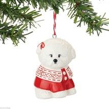 Fetch the Spirit Cute Bichon Dog ornament stoneware NEW