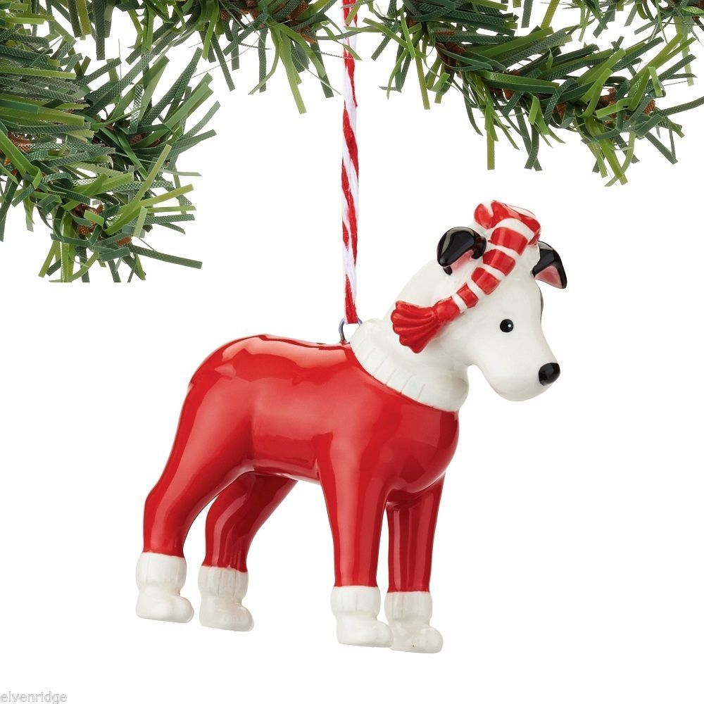 Fetch the Spirit Cute Bull Terrier Dog ornament ceramic stoneware NEW