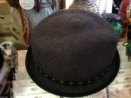 Fedora hand felted wool ophelie brand gray hat w leather studded wrap