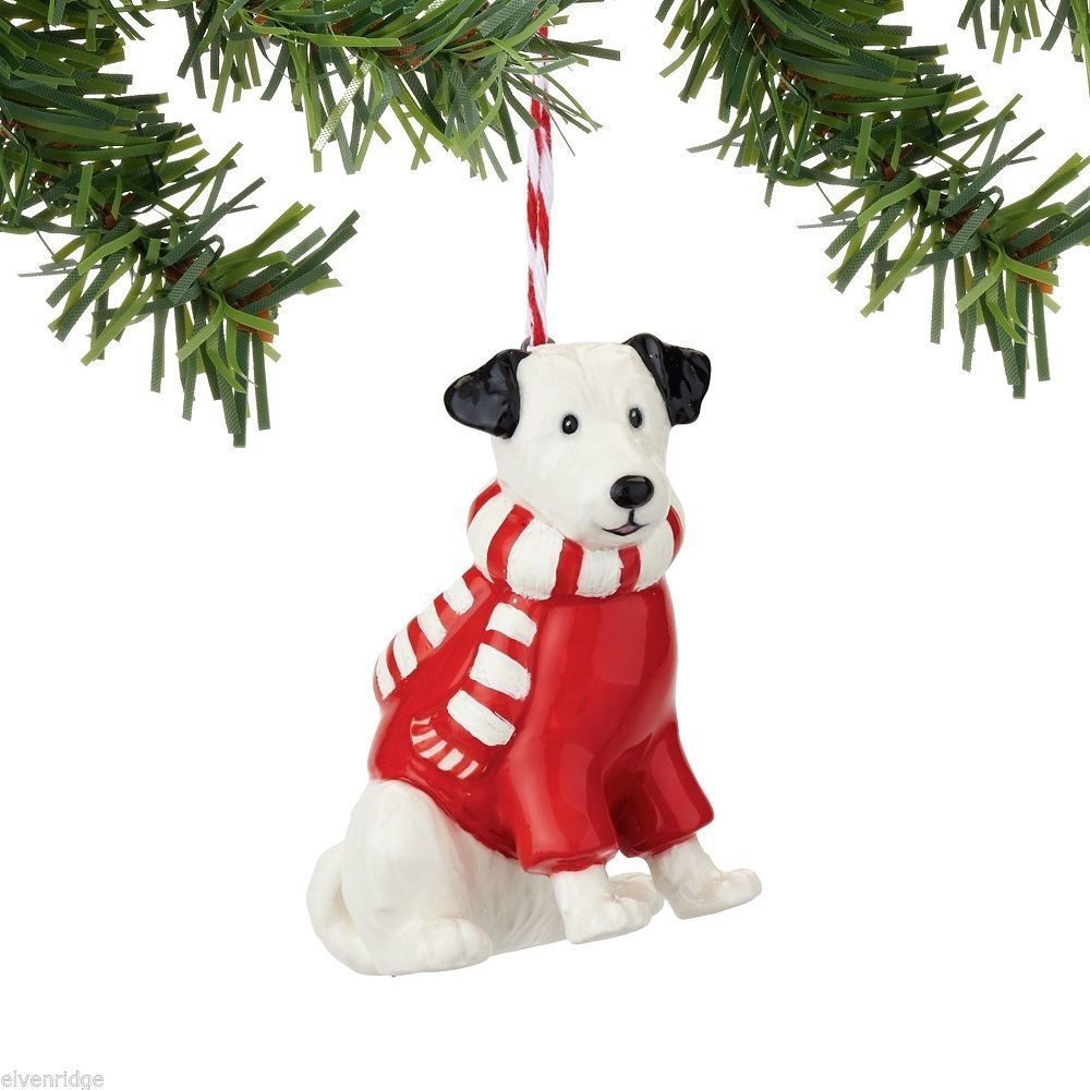 Fetch the Spirit Cute Terrier  Dog ornament ceramic stoneware NEW