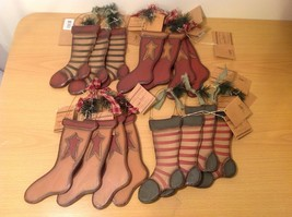 Festive 15  Piece Set of Holiday Wooden Stockings Hangers NEW With Tags