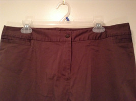 Emma James Stretch Size 14 Brown Cotton Blend Capri Pants Button Zipper Closure image 2