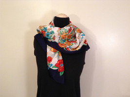 Field Flowers on White Background Shawl Wrap Scarf Square Navy Blue Border