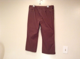 Emma James Stretch Size 14 Brown Cotton Blend Capri Pants Button Zipper Closure image 3