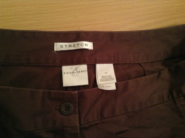Emma James Stretch Size 14 Brown Cotton Blend Capri Pants Button Zipper Closure image 5