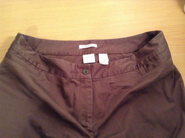 Emma James Stretch Size 14 Brown Cotton Blend Capri Pants Button Zipper Closure image 4