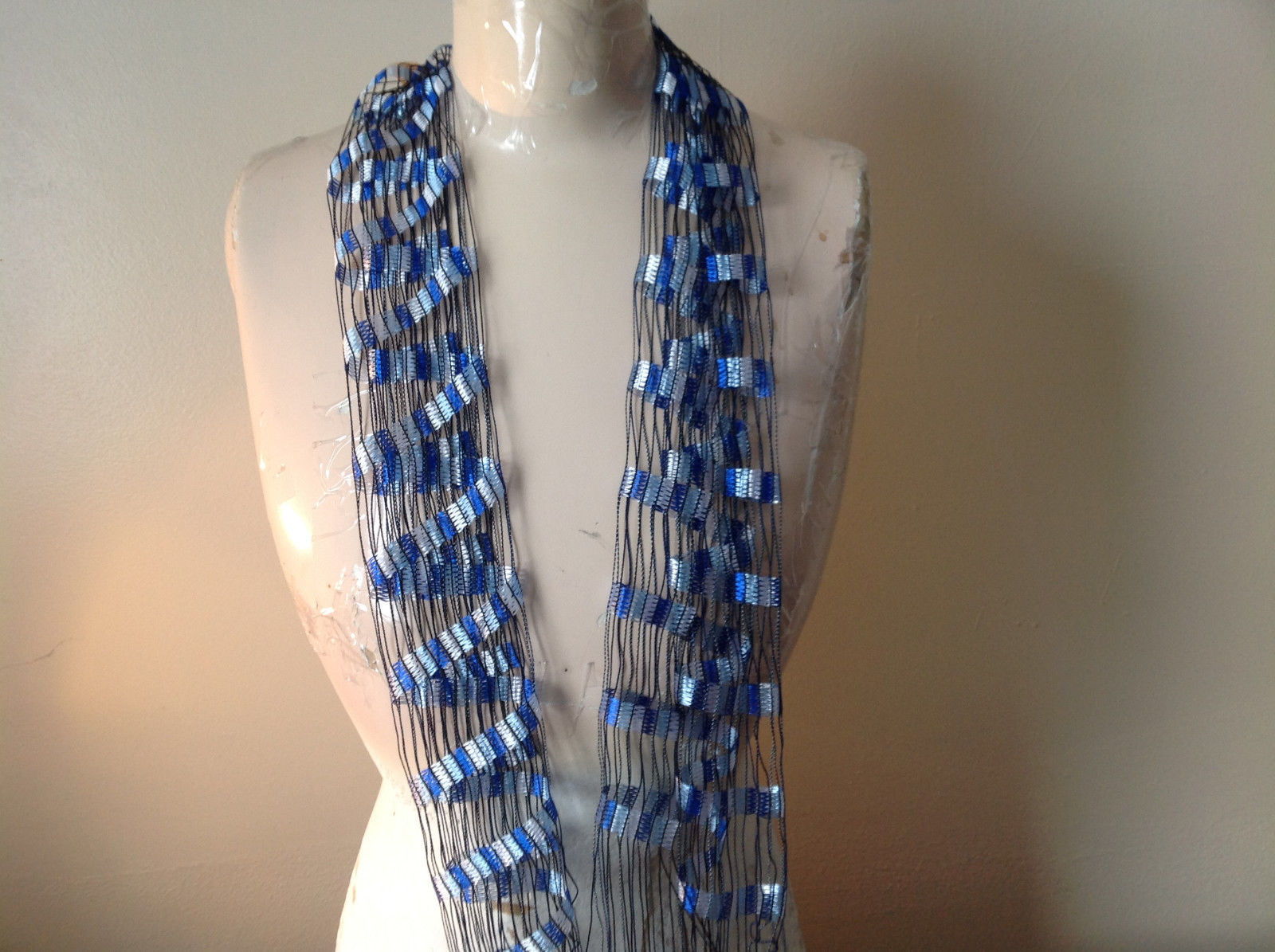 Filigree Scarf Headband Belt Three in One Blue and White