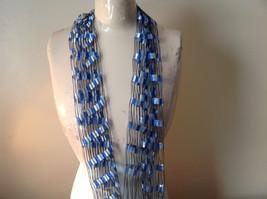 Filigree Scarf Headband Belt Three in One Blue and White