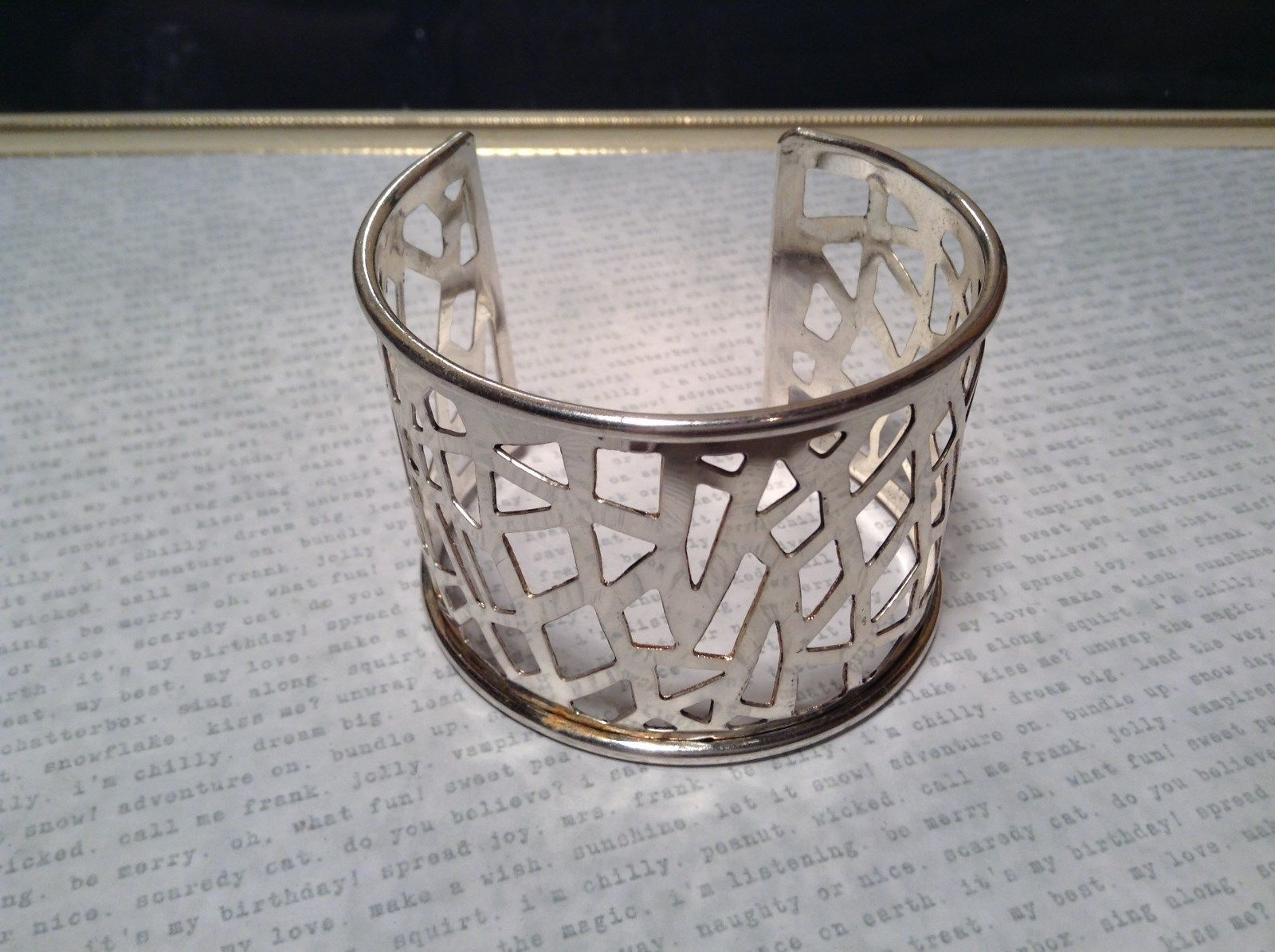 Filigree  Pattern Handcrafted Silver Plated Cuff Bracelet 925 Sterling Silver
