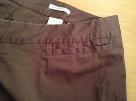 Emma James Stretch Size 14 Brown Cotton Blend Capri Pants Button Zipper Closure image 6