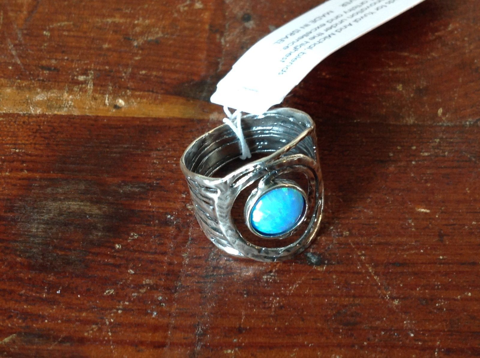 Filigree with Large Opal Handcrafted 925 Sterling Silver Ring Size 7 OR 8