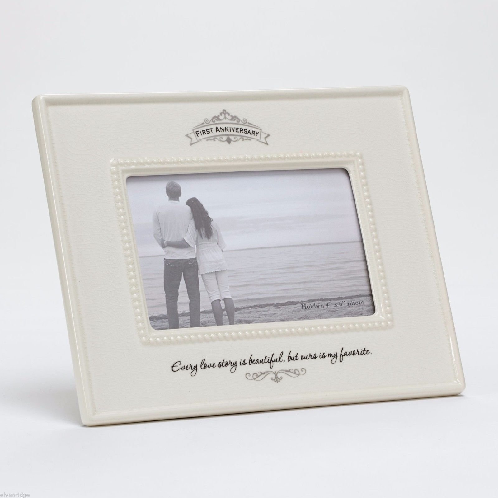 First Anniversary Ceramic Photo Frame Every Love Story is Beautiful Ours My Fave