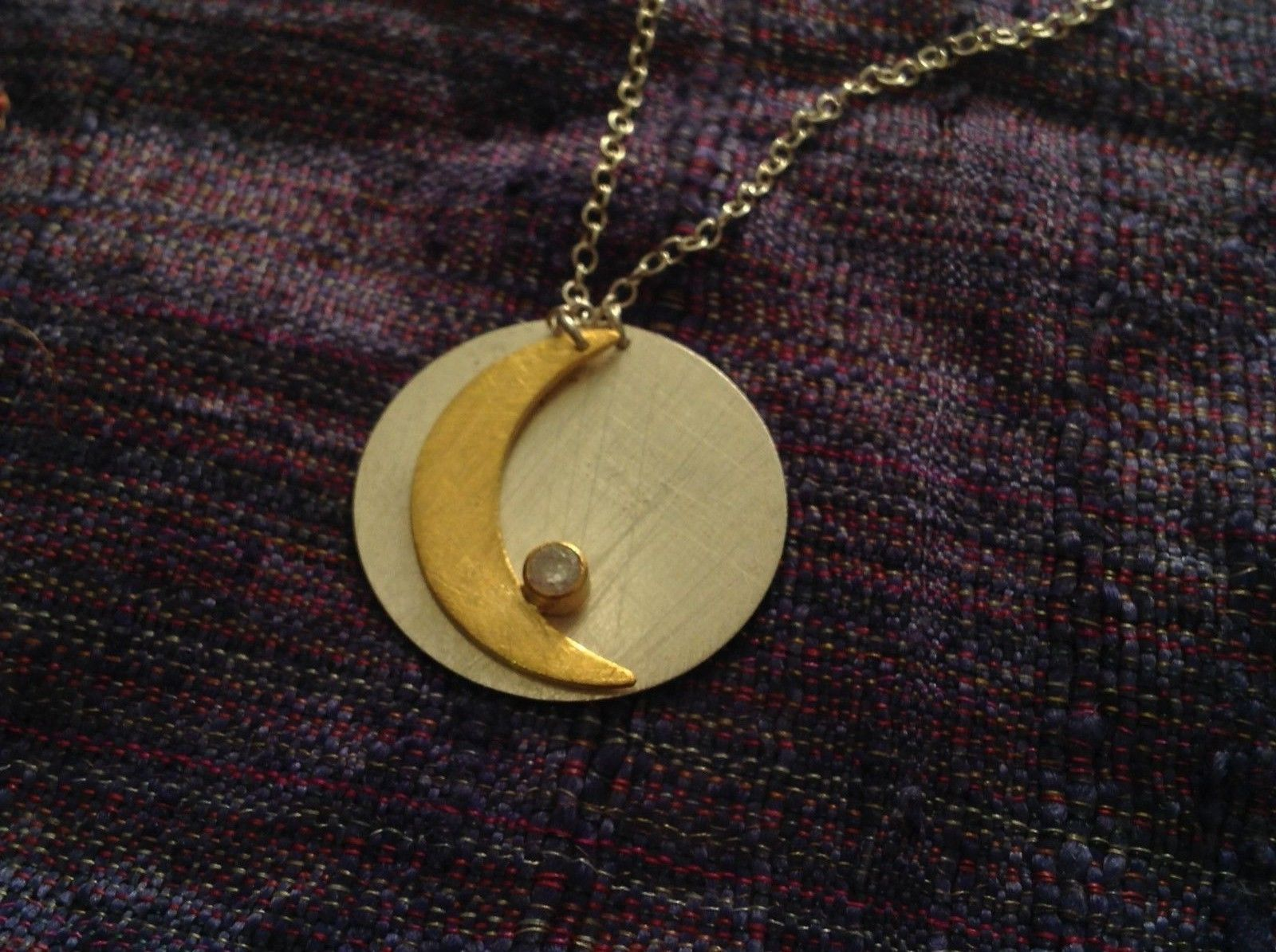 Gold Crescent Flat Moon Necklace w CZ Silver Disk & Chain by Zina Kao California